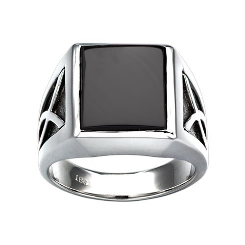 J.Goodman Sterling Silver Onyx Ring with black rhodium accent detail. Finger size 10