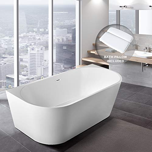 "BATH MASTER Freestanding Bathtub Acrylic Contemporary Bathroom Soaking Tub with Chrome Overflow and Drain (59"", T38)"