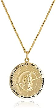 Men's 14k Gold Filled Round Saint Christopher Pendant Necklace with Compass Design and Stainless Steel Cha
