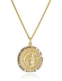 """Men's 14k Gold Filled Round Saint Christopher Pendant Necklace with Compass Design and Stainless Steel Chain, 24"""""""