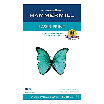 Hammermill 104612 Laser Print Office Paper, 98 Brightness, 24lb, 8-1/2 x 14, White, 500 Sheets/RM