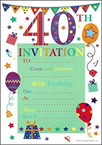 40th birthday party invitations 20 pack for 40th birthday decoration packs