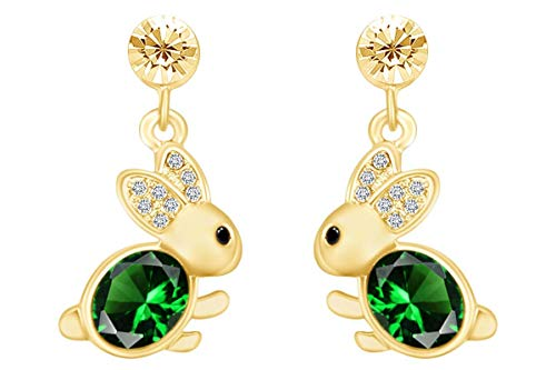 14k Yellow Gold Over Sterling Silver Simulated Emerald & CZ Animal Rabbit Easter Bunny Womens Drop Earrings ()