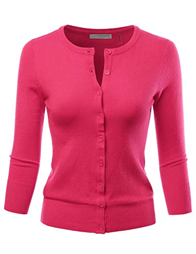 LALABEE Women's 3/4 Sleeve Crewneck Button Down Knit Sweater Cardigan REDPINK L