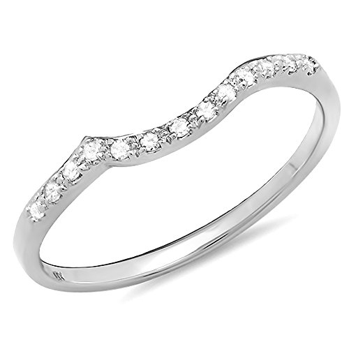 0.10 Carat (ctw) 10K Gold Round Cut Diamond Ladies Anniversary Wedding Stackable Guard Band 1/10 CT