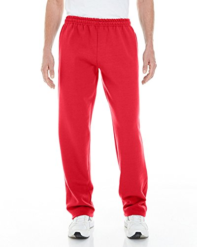 Adult Sweatpant - Gildan Adult Heavy Blend 8 oz Open-Bottom Sweatpants with Pockets - RED - XL - (Style # G183 - Original Label)