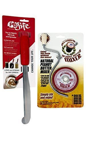 Grandpa Witmer's Old Fashioned Mess-Free Peanut Butter Mixer with PB-JIFE! Ultimate PB Spreader Knife Bundle (16oz/3