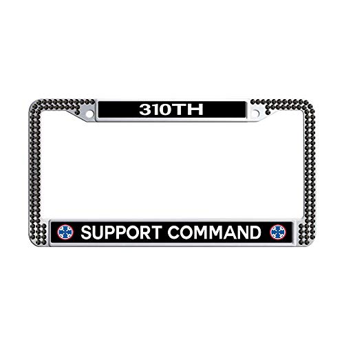 (GumiHolders 310th Support Command Black Rhinestones License Plate Frame, Shining Crystal Stainless Steel Car Auto Tag Frame)