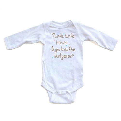 Cute Unisex Twinkle Little Star Nursery Rhyme Long Sleeve Comfy Baby Bodysuit (Newborn, White) (Comfy Bodysuit)