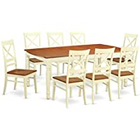 East West Furniture DOQU9-WHI-W 9 Piece Table and 8 Dining Room Chairs Set