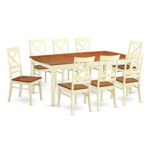 East West Furniture DOQU9-WHI-W 9 Piece Table and 8 Dining Room Chairs Set (Piece 9 Set White Dining)
