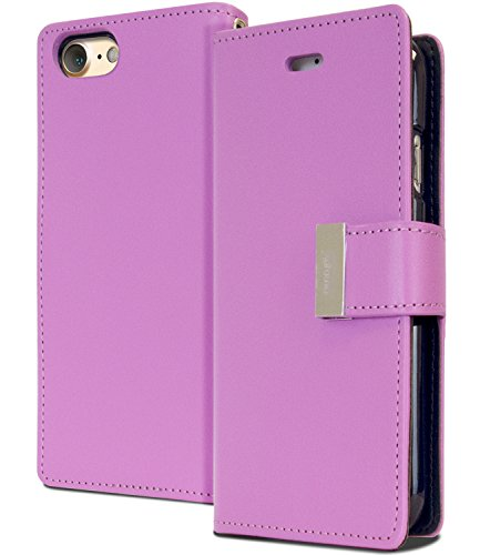 iPhone 8 / 7 Wallet Case, [Maximized Storages for Credit & ID Cards] MERCURY Rich Diary [Drop Protection] Soft Premium PU Luxury Leather Case w/ TPU Casing Cover for Apple iPhone 8 / iPhone 7, Purple