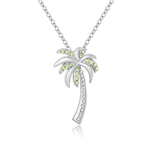 (MANZHEN Dainty Crystal Palm Tree Pendant Necklace Summer Style (Silver))