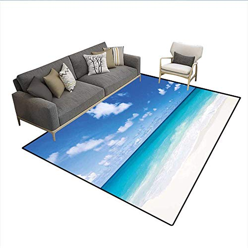 - Floor Mat,Tropical Exotic Sandy Beach Caribbean Sea Bay Barbados Coastline Summertime,15090D Printing Area Rug,Blue Aqua Coconut 6'6