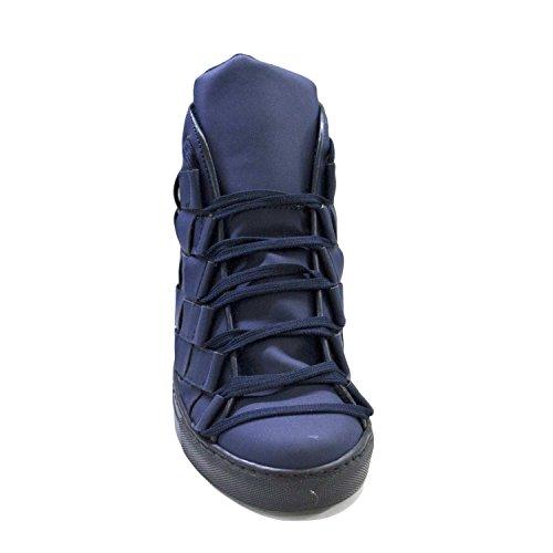Sneakers alta uomo pelle gommato blu matto moda glamour intreccio a mano fondo antiscivolo