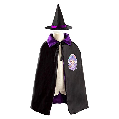 For Devil Homemade Costume Kids (Cute Mage Girl Cartoon Halloween Witch Hat and Reversible Cape for Kids)