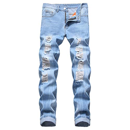 iHPH7 Jeans Men Skinny Jeans Stretch Washed Slim Fit Pencil Pants Men Vintage Jeans Denim Folds Wash Work Frayed Trousers Zipper Basic Pants 29 Navy (Wash Rebel Jeans Relaxed)