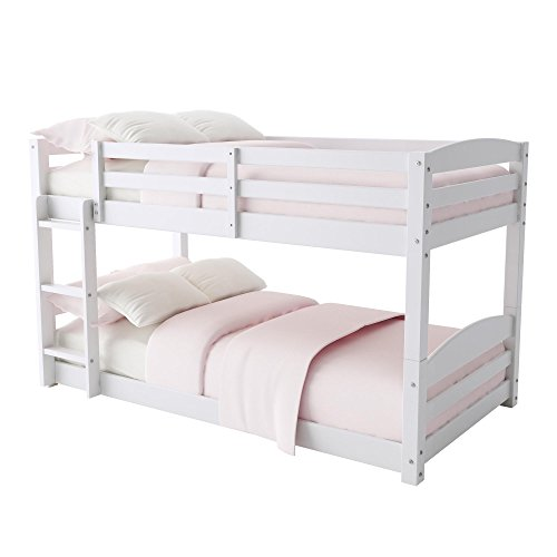 Dorel Living Phoenix Solid Wood Twin over Twin Floor Bunk Beds with Ladder and Guard Rail, White -