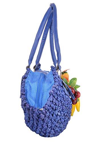 Damen Tasche Raffia Obst Bast Korb Handtasche Blau Blau so2u4H3Yvl
