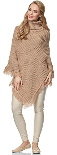 Merry Style Poncho para mujer MSSE0023 camello