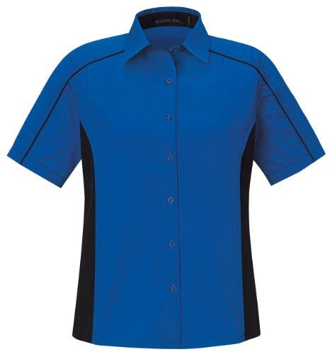 (Ash City Women's Fuse Ladies' Color-Block Twill Shirt, XXL, True Royal / Black)