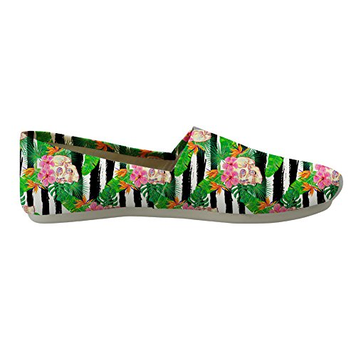 Nopersonality Loafers for Girls skull Stylish Women Flats Pumps Casual 3 Style Canvas Floral 0wrU0qR