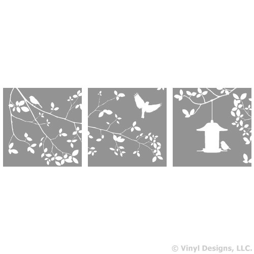 Tree Branch, Leaves, 3 Birds and Feeder Vinyl Wall Decal Sticker Art, (Bird Feeder Tree Art)