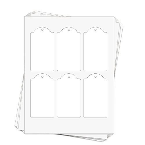 (60 Printable White Cardstock Domed Rectangle Hang Tags with Holes, 2.375 x 4.25 Inches, Two-Sided)