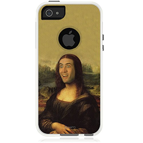 iPhone 5 Case White Nick Cage Mona Lisa [Dual Layered Hybrid] Protective Commuter Case for iPhone 5 / 5S / SE White Case by Unnito