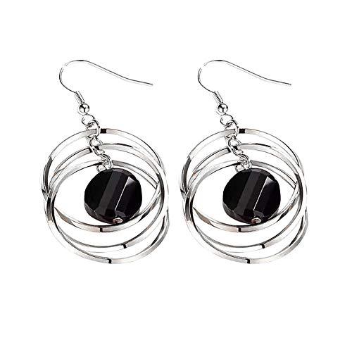 Aland Earrings,Elegant Geometric Hollow Circle Pendant Hook Earrings Women Party Jewelry Gift Silver