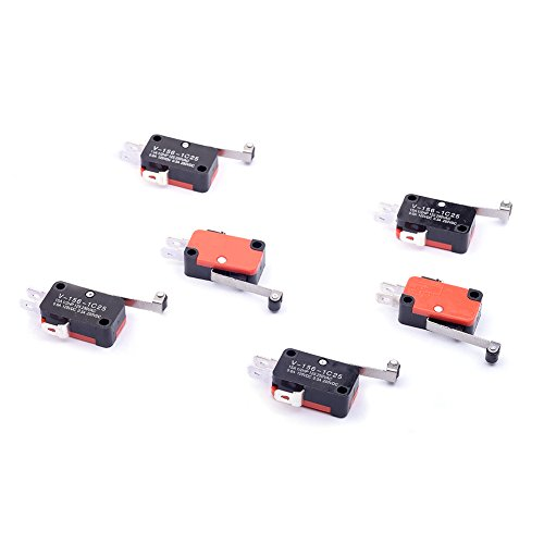 Cylewet 6Pcs V-156-1C25 Micro Limit Switch Long Hinge Roller