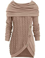CHARMMA DRESSFO Women's Hooded Cowl Neck Long Sleeve Button Pullover Cable Knit Knitwear