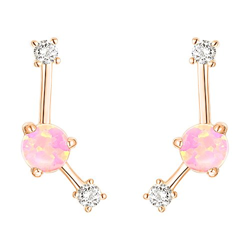 PAVOI 14K Rose Gold Plated Sterling Silver Post Created White Opal Crawler Earrings Cuff Stud
