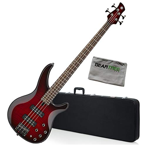 Yamaha TRBX604FM 4-String Dark Red Burst Bass Guitar w/Bag, Stand, Cloth, and T