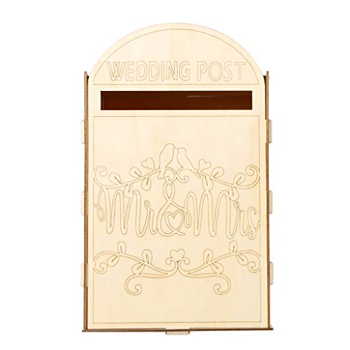 (Hardli Wooden Wedding Post Box Royal Mail Styled Cards, Letter Gift Message Storage Mr & Mrs Vintage Decorations)