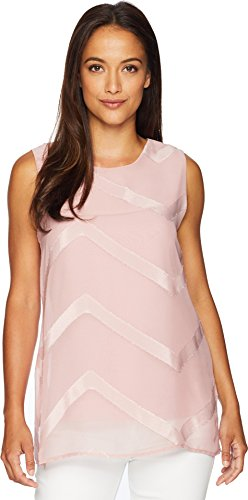 Vince Camuto Womens Sleeveless Sheer Chevron MixMedia Tunic Pink Fawn (Vince Sheer)