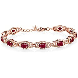10.20 Ct Oval Red Ruby 18K Rose Gold Plated Silver 7 Inch Bracelet With 1 Inch Extender