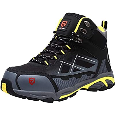 LARNMERN Men's Safety Steel Toe Work Shoes Anti-Static Construction Keep Warm Breathable Slip Resistance Indestructible Hiking Boots(7.5 Black): Shoes