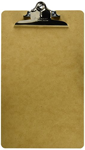 Saunders US-Works 05613 Recycled Hardboard Clipboard - Brown, Legal Size Writing Board with High Capacity Clip ()