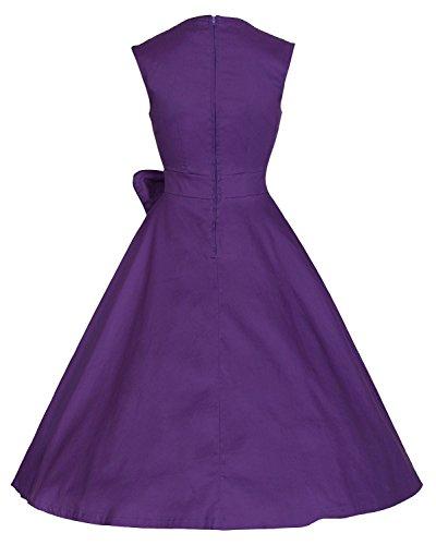 Donne Capshoulder Viola Sera Epoca Dall'oscillazione Delle Rockabilly Vestito Profondo 1950 Di v Daroj dXUnAqR