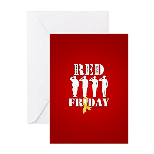 CafePress - RED Friday Salute - Greeting Card, Note Card, Birthday Card, Blank Inside Glossy