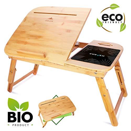 CURVAN – Mesa Plegable para Ordenador Portatil de Bambu + Alfombrilla de Regalo | Bandeja para Cama y Sofa | 58x38x31cm…