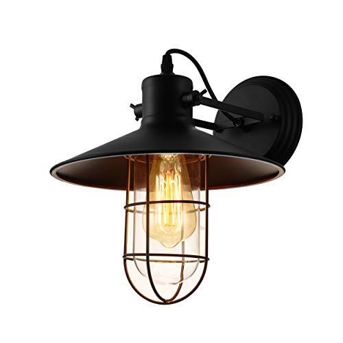 JINGUO Lighting Industrial Vintage Style 1 Light Wall Sconces Ceiling Lamp Antique Metal Copper Nautical Wall Sconce Wall Light Lamp Fixture with Cage Use E26/27 Bulb