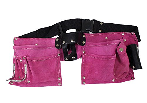 7 Pocket Pink Suede Double Tool Pouches With Nylon Belt