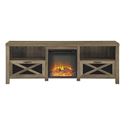 Farmhouse Living Room Furniture Home Accent Furnishings 70″ Rustic Farmhouse Fireplace TV Stand – Reclaimed Barnwood farmhouse tv stands