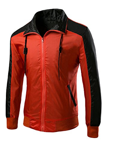 Sheng Xi Men's Coat Zipper Slim Fit Stitching Outdoor Coat Red 175