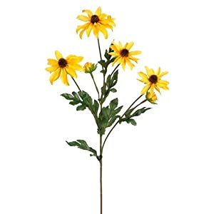 "23"" Silk Rudbeckia Black-Eyed Susan Flower Spray -Yellow (pack of 12) 72"