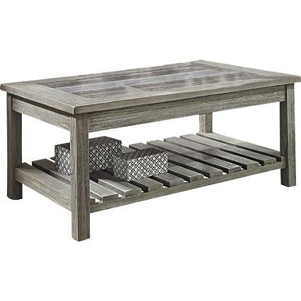 Amazon Com Wood Coffee Table With Magazine Rack Open Slat Shelf Is
