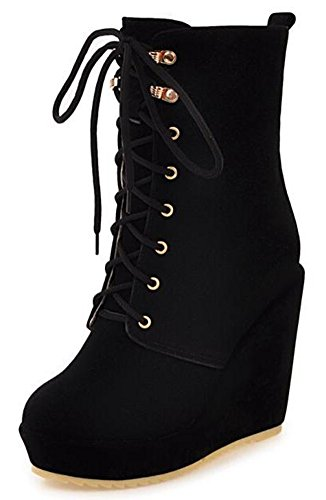 IDIFU Women's Sexy Platform High Wedge Heels Lace Up Mid Calf Riding Boots (Black, 9 B(M) (Mid Calf Wedge Boots)