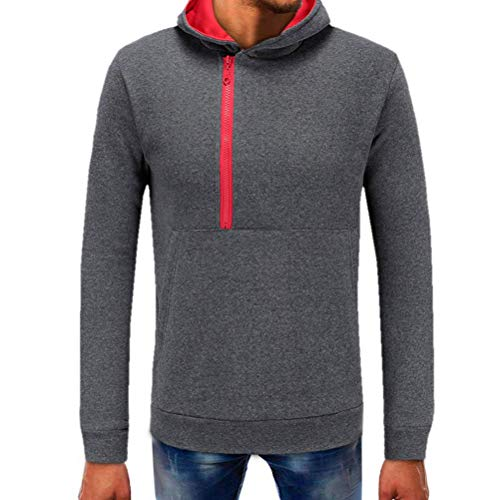 p,Men Pure Color Zipper Pullover Tops Long Sleeve Hooded Tops Blouse(Dark Gray,XL) ()
